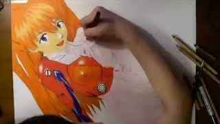 [手描き]惣流・アスカ・ラングレー 描いてみた[色鉛筆] アスカ・ラングレー  動画 25