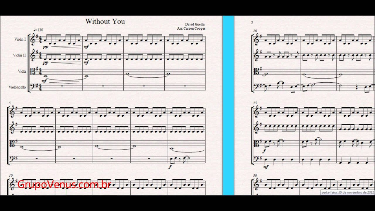 Without you david guetta arrangement free sheet music for violin without you david guetta arrangement free sheet music for violin and string quartet hexwebz Image collections