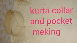 Kurta collar and pocket cutting and stitching