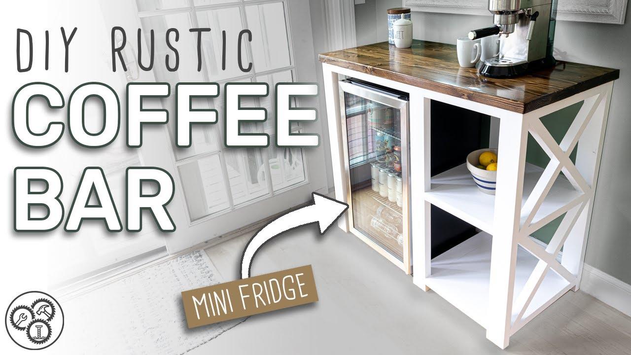 diy coffee bar mini fridge table beginner woodworking plans available