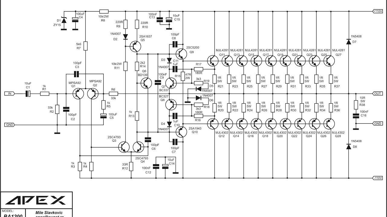 High power audio amplifer design by Mile and PCB mister