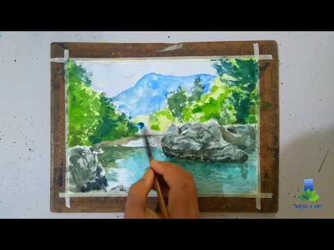 'LAKESIDE' |LEARN WATER EFFECTS| WATERCOLOURS PAINTING DEMONSTRATION VIDEO