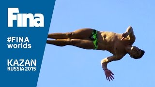 High divers flying over Kazan during the last World Championships