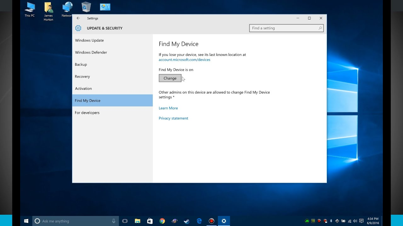 windows 10 tips - using find my device