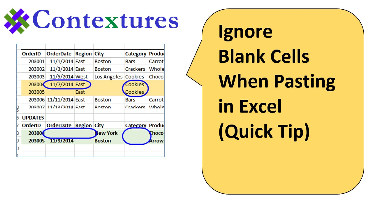 ignore blank cells when pasting in excel quick tip youtube