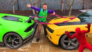 Mr. Joe on Lamborghini Huracan VS Red Man on Camaro found Rope & Tied Cars for Kids