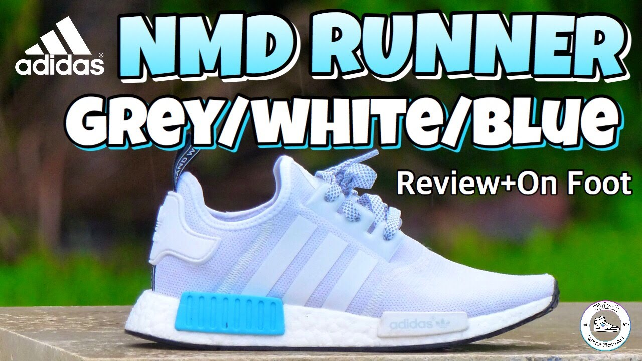 05826e38c6389 Adidas NMD Grey White Cyan-Blue (Review + On Foot) - YouTube