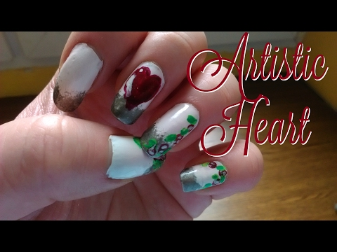 Valentine's Day Nail art Tutorial  Artistic Heart  CutePatzie