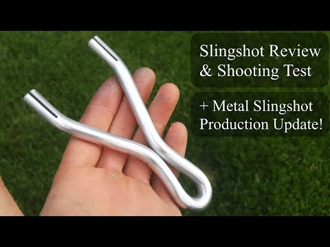 Aluminum Rod Slingshot Review & Shooting Test By Todd Brabson + Metal Slingshot Production Update!