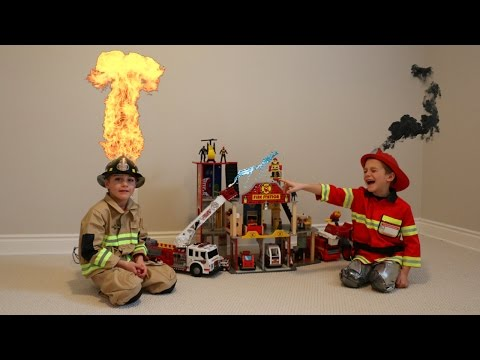 Playing with  Fireman and Fire Truck Toys!