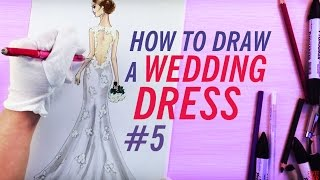 HOW TO DRAW A WEDDING DRESS (Back View)  #5 | Fashion Drawing