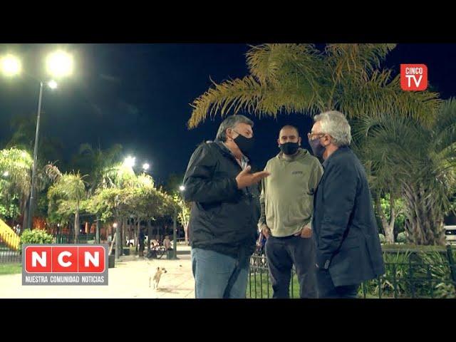 CINCO TV - Julio Zamora verificó la nueva iluminación de la Plaza Mariano Moreno de La Paloma