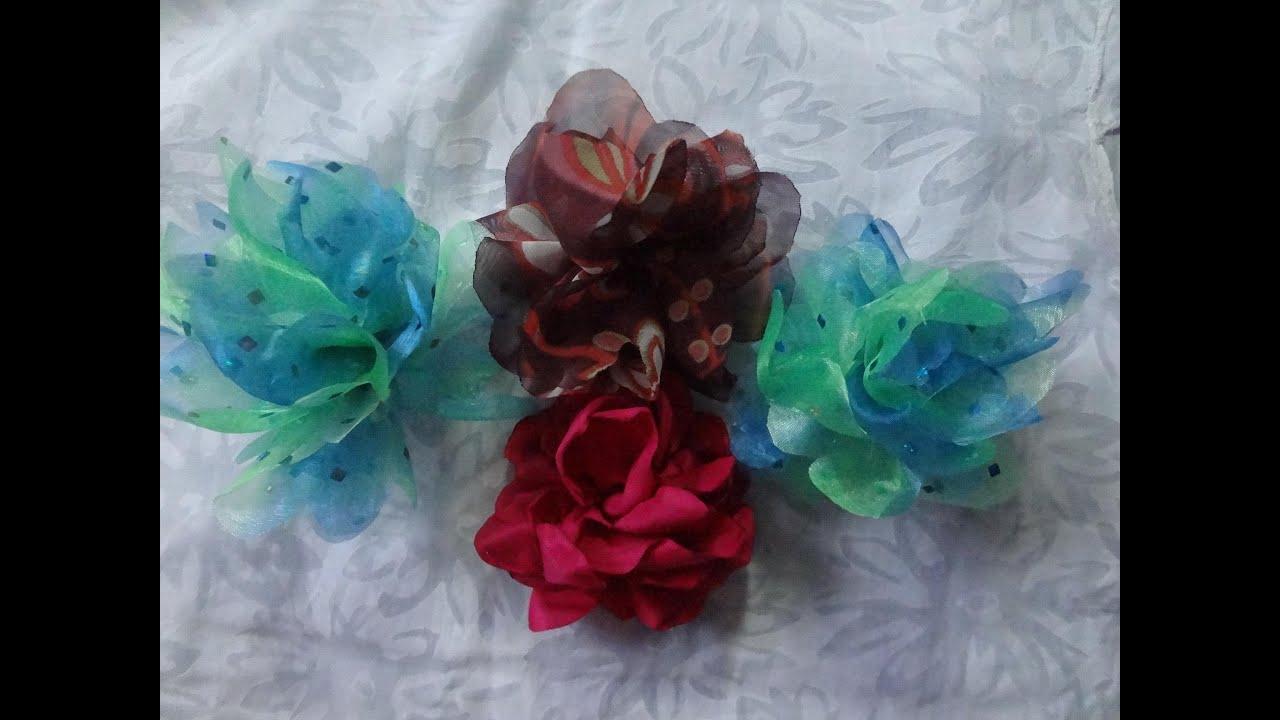 Episodio 18 flores de tela modelo 2 youtube - Flores de telas hechas a mano ...
