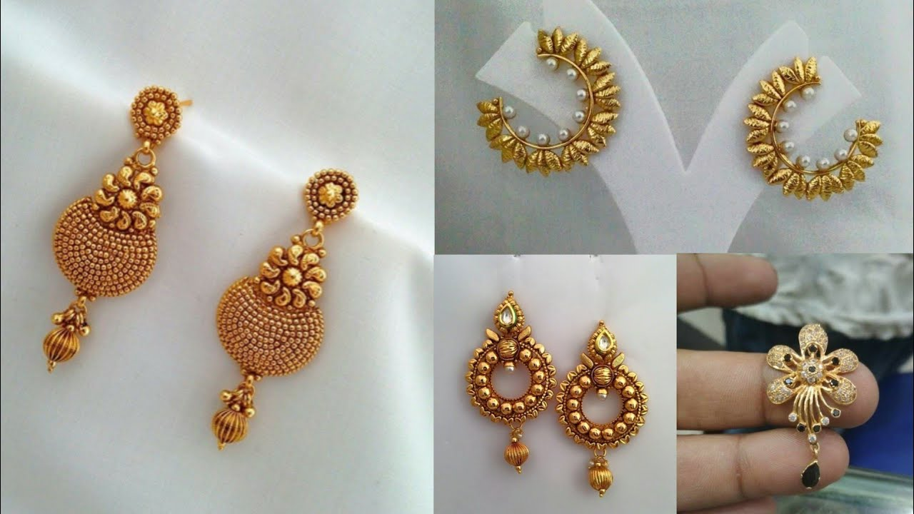 Daily wear simple gold earrings design ideas/beautiful gold ...
