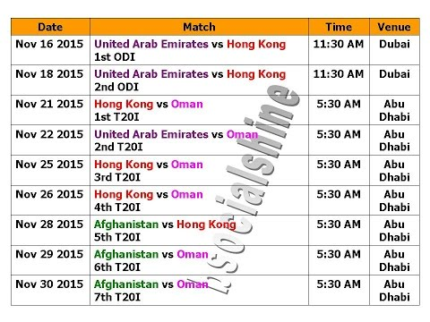 Asia Cup 2016 Schedule Qualify Matches (Nov  2015)