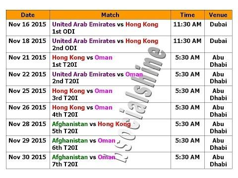 Asia Cup 2016 Schedule Qualify Matches (Nov  2015)