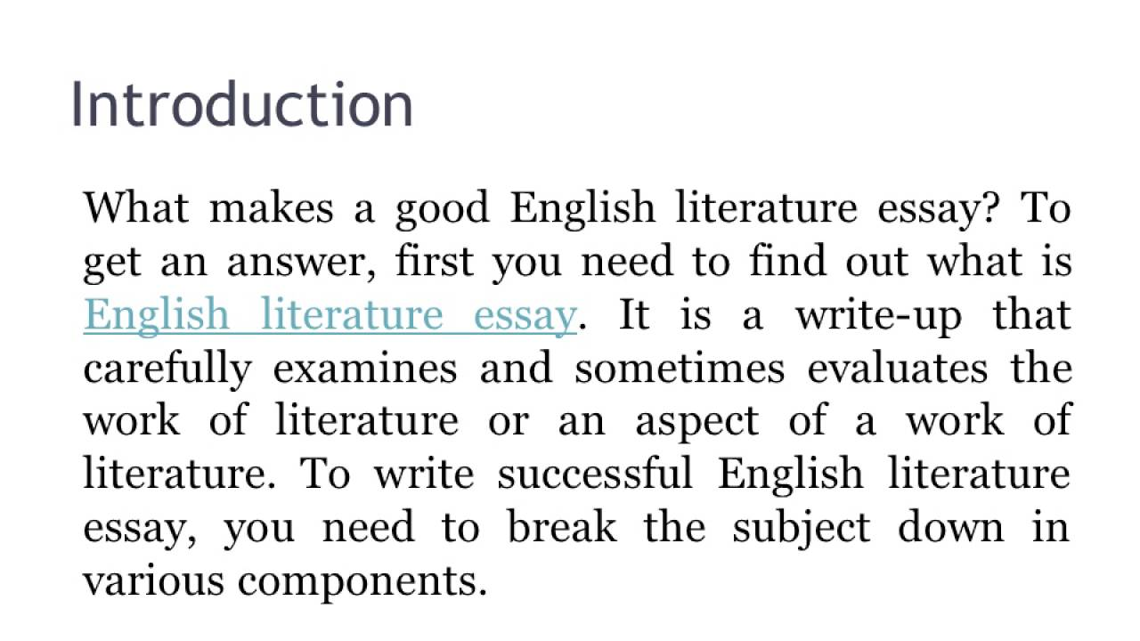 Help write an essay english literature