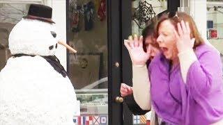 Scary Snowman Freaky Halloween Hidden Camera Practical Joke Compilation