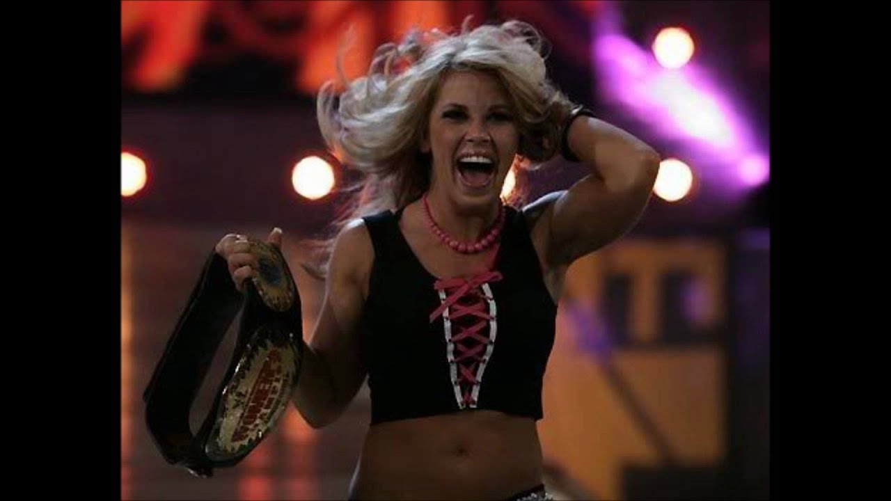 Mickie james and trish stratus vs candice michelle and victoria tag team match raw 2005 - 5 6