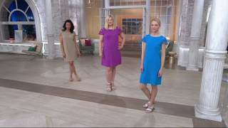 Liz Claiborne New York Lace Sleeve Bateau Neck Dress on QVC