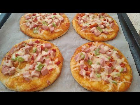 Mini Pizza Resepti.Xəmiri Mayalamadan Çox Yumşaq Dadli Pizza Hazirlanmasi.Pizza Tarifi.