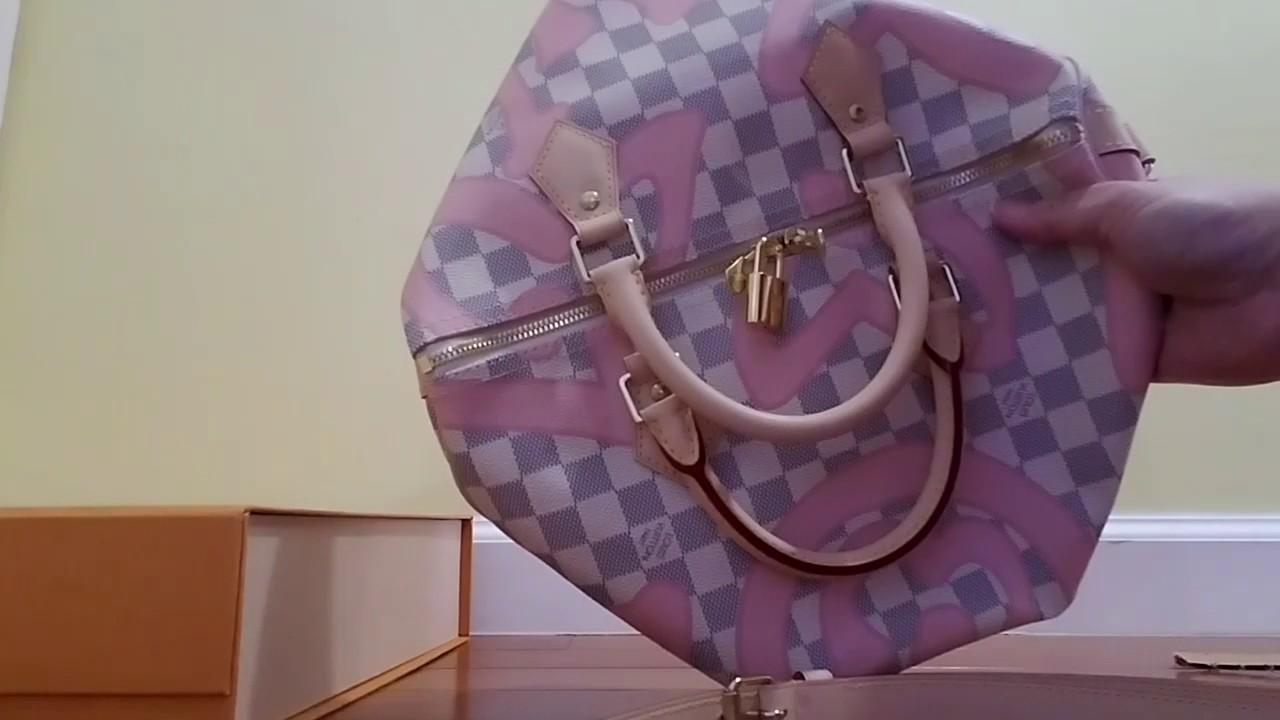 b072d209e840 Louis Vuitton unboxing Damier Azur Tahitenne Rose SPEEDY BANDOULIÈRE 30  N41052