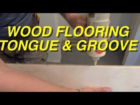 Tongue and Groove Wood Flooring Installation in a Hallway: How to Glue DIY Mryoucandoityourself