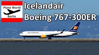 Icelandair Boeing 767-300ER takeoff from San Francisco Airport