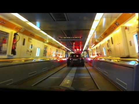 Boarding the Channel Tunnel train
