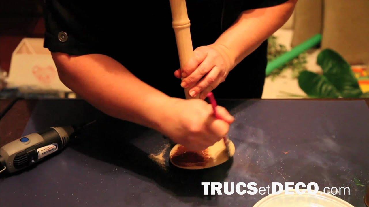 Vieillir du bois et customiser un pied de lampe tutoriel for Changer une douille de lampe