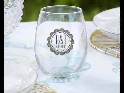 Personalized Stemless Wine Glass Wedding Favors - YouTube