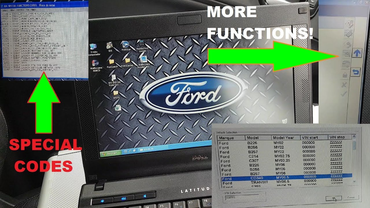 How to use/enable special functions on Ford IDS, such as