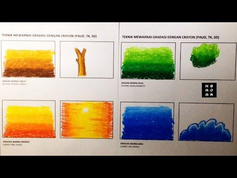 Belajar Mewarnai Gradasi Dengan Crayon Teknik Dasar Untuk Tk Sd