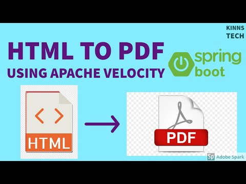 Spring Boot - Velocity Engine HTML Template To PDF File Creation And Download.