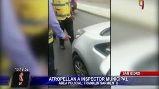 Conductor de taxi colectivo atropella a inspector de tránsito en San Isidro (1/2)