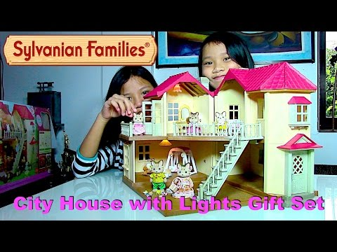 Thumbnail: Sylvanian Families City House with Lights Gift Set + Striped Cat Family Dolls - Kids' Toys