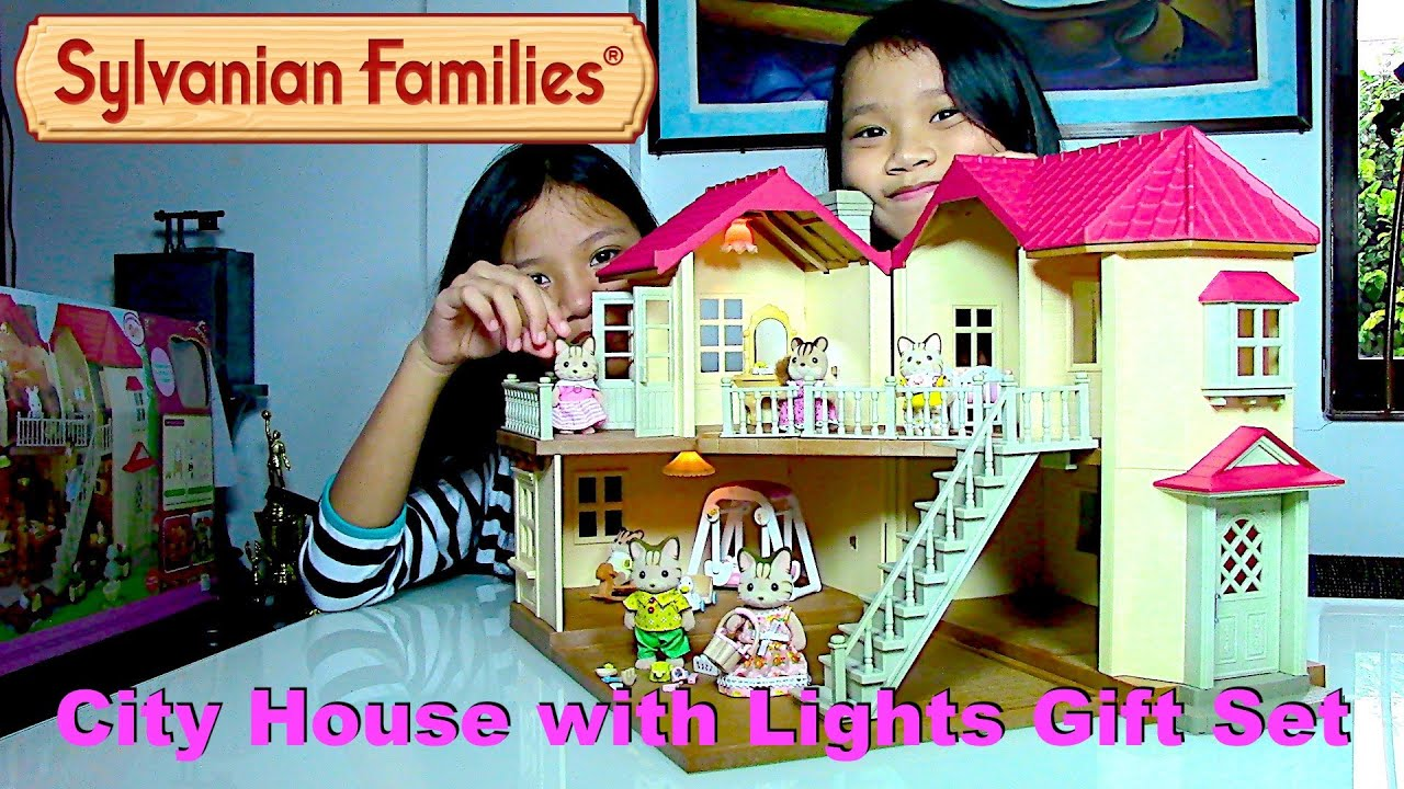 Sylvanian families city house with lights gift set striped cat family dolls kids 39 toys youtube - Houses for families withchild ...