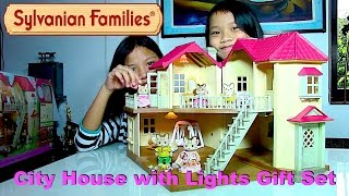 Sylvanian Families City House with Lights Gift Set + Striped Cat Family Dolls - Kids' Toys