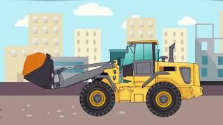 Excavator and Bulldozer loader | Building a skyscraper | Machine for kids | Cartoon