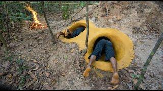 Building Yellow Slides To Underground Secret Swimming Pool Under Hill