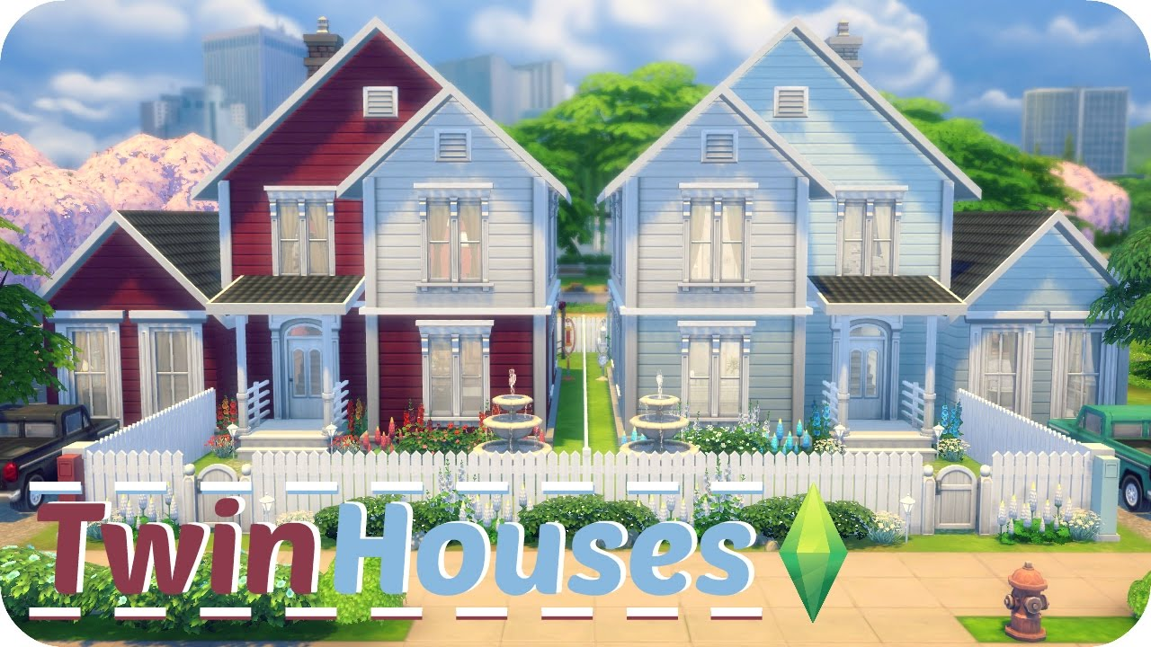 Sims 4 speed build twin houses traditional family homes for Family homes com