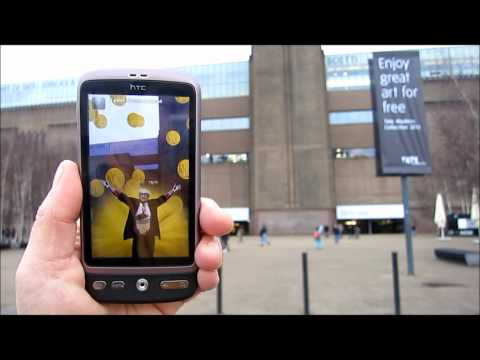 """All Hail Damien Hirst"" seen outside the Tate Modern, London, 2012"