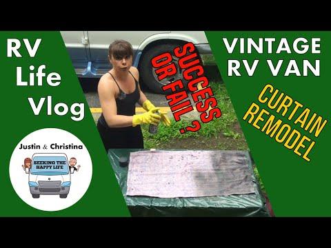 RV VanLife: Curtain Remodel - Spray-Painting Curtains Success or Fail ? (RV Life Vlog: S1:E10)