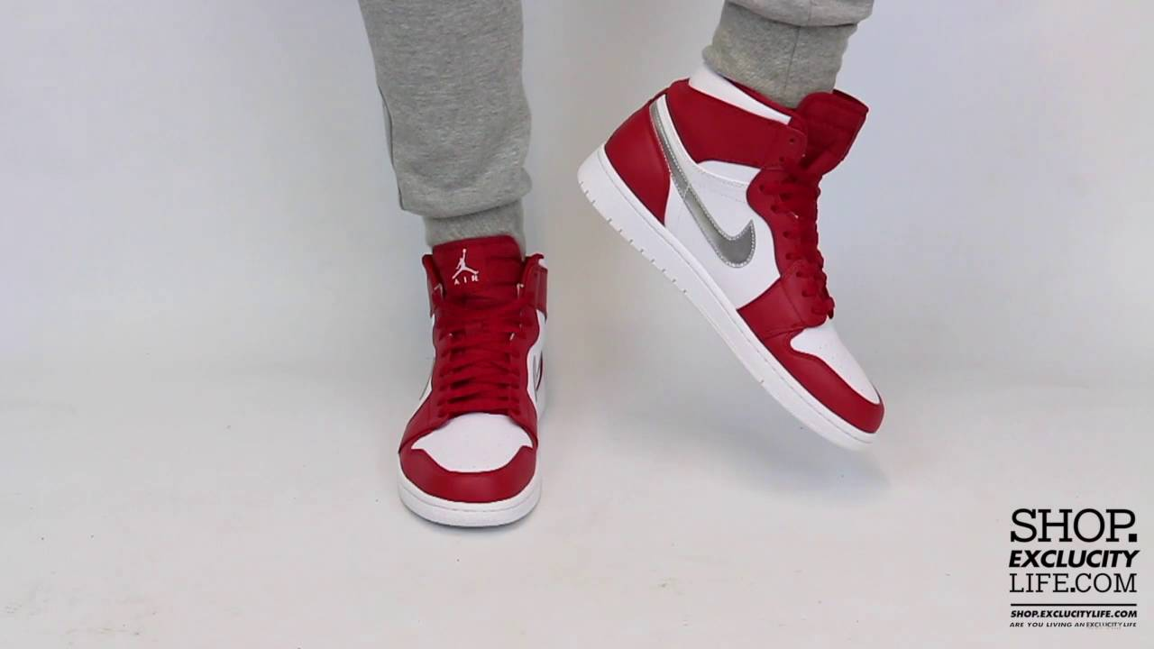 24d0948d624 Air Jordan 1 High Retro Gym Red Metallic Silver On feet Video at Exclucity