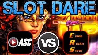 ★SLOT DARE!★ $100 SLOT MACHINE CHALLENGE (ASC VS. EmanRocknSlots) | LIGHT EM UP (Ainsworth)