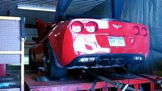 2008 z06 with 427 warhawk and procharger f 1r on dyno from behind the car