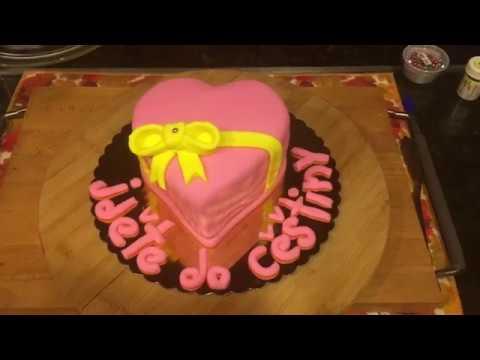 EMOJI PNG Cake - Emoji Pink Heart with Ribbon