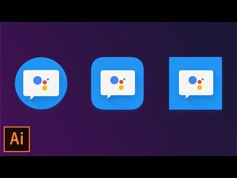 Design Adaptive Icons Using Google Material Design Guidelines - Illustrator CC 2018 Tutorial