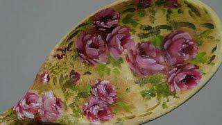 Pintura de rosas em colher de pau