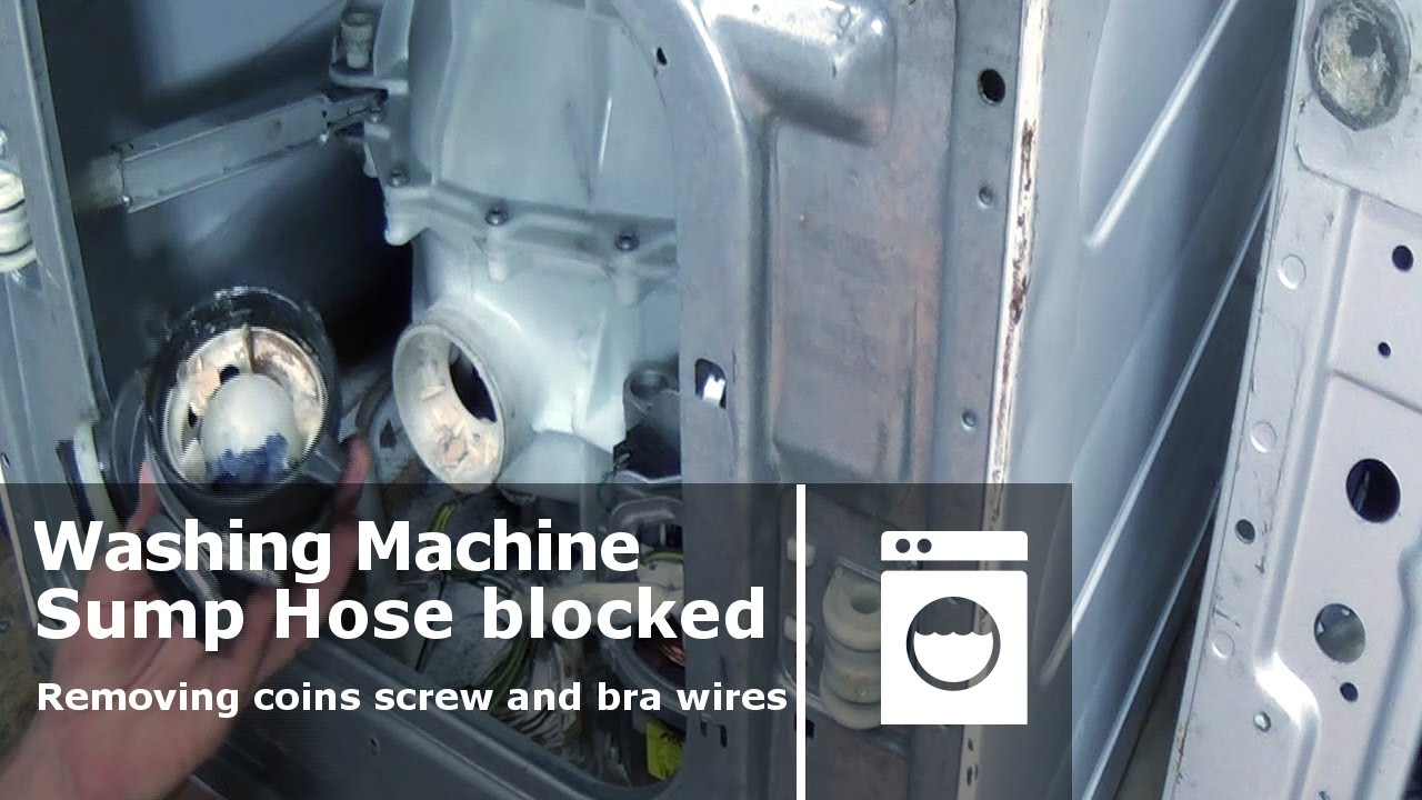 How to clear a blokage in a washing machine cleaning sump hose - YouTube